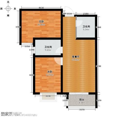绿朗时光2室2厅1卫0厨89.00㎡户型图
