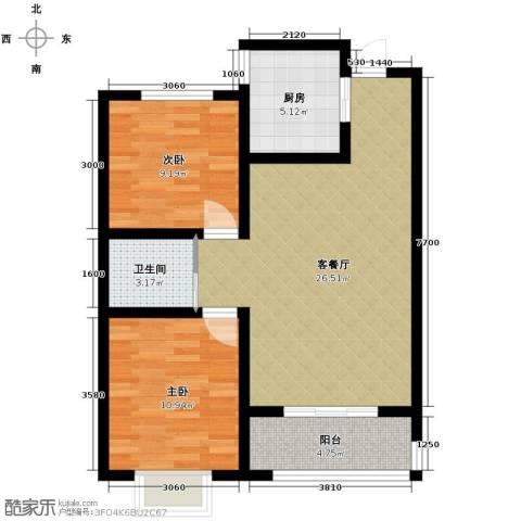 蓝天林语2室2厅1卫0厨88.00㎡户型图