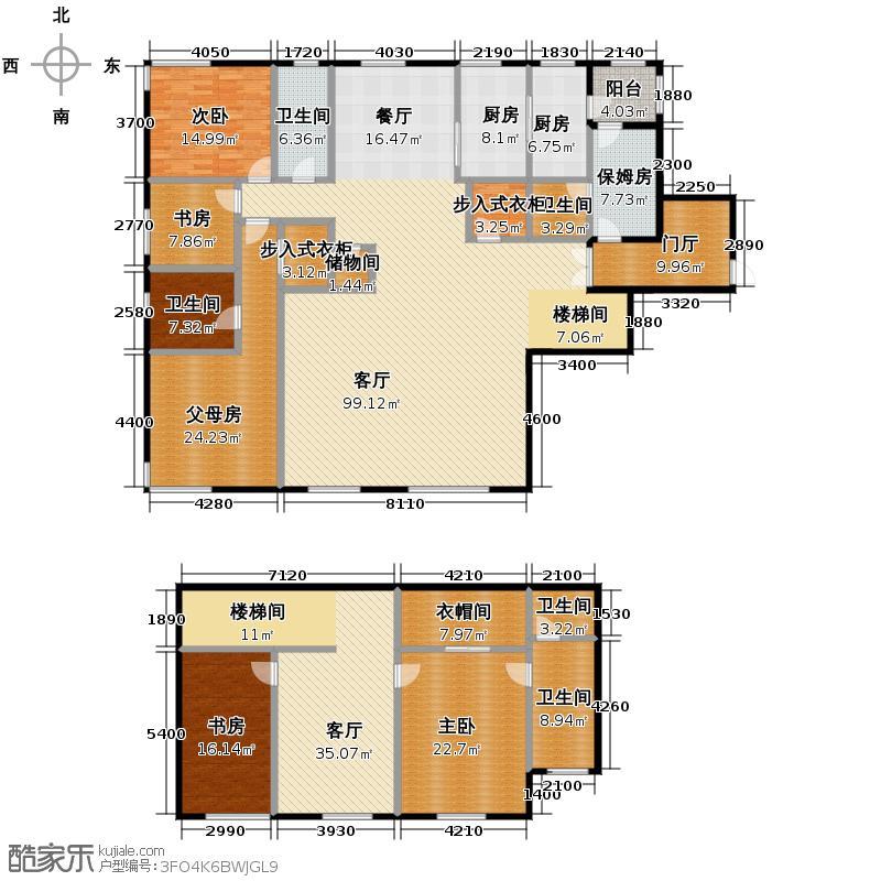 中央悦城342.00㎡E1户型5室3厅4卫