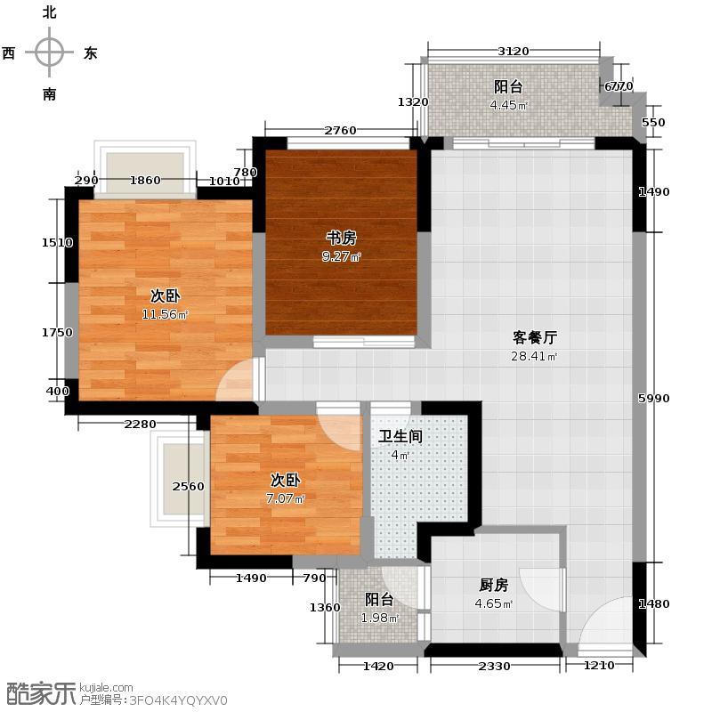 蓝谷地二期87.26㎡5、6号楼b2-2偶数层户型3室1厅1卫1厨