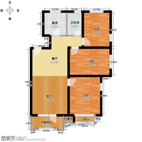 保利花园3室1厅1卫1厨114.00㎡户型图