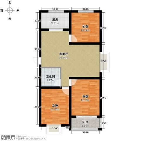 尚品居3室2厅1卫0厨112.00㎡户型图