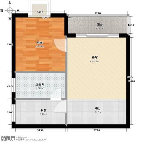 山海湾温泉家园45.00㎡户型图