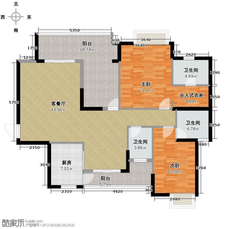海琴水岸127.00㎡漾日湾15栋02单位户型2室2厅3卫