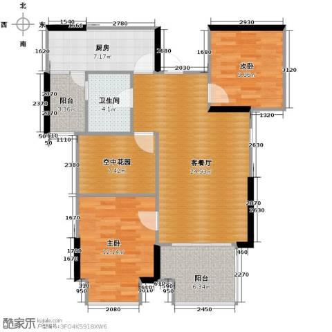 旭辉华庭2室1厅1卫1厨89.00㎡户型图