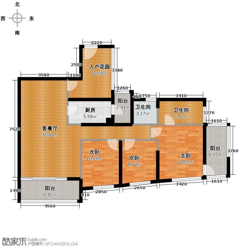凯德城脉125.00㎡1座4-24层偶数层03单位户型3室2厅2卫