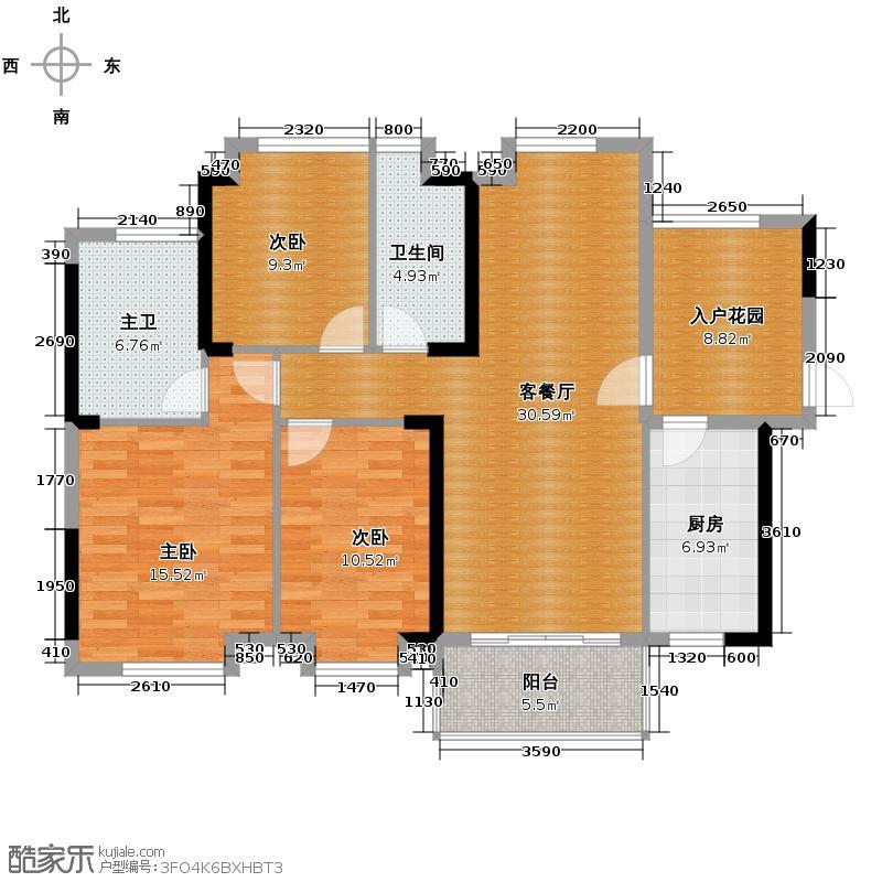 沿海馨庭123.00㎡15座02单元户型3室2厅2卫