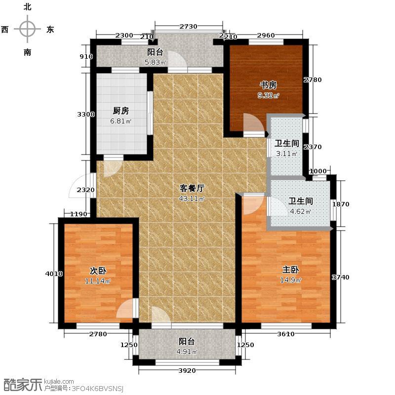 朗诗保利麓院118.55㎡2#201户型3室2厅2卫