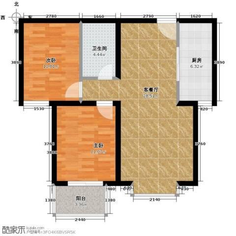 御景阁2室2厅1卫0厨90.00㎡户型图