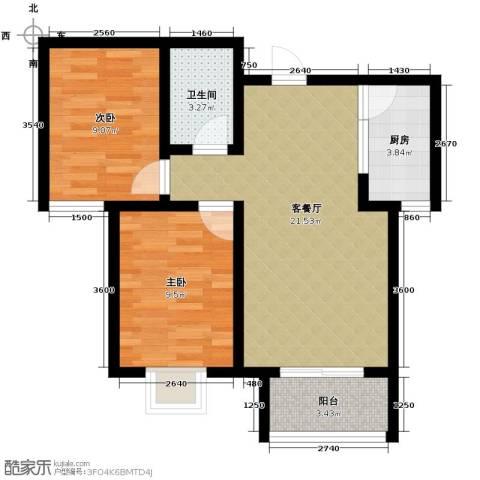 学府名城2室2厅1卫0厨82.00㎡户型图