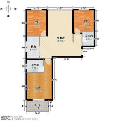 中城花溪畔3室1厅2卫1厨110.00㎡户型图
