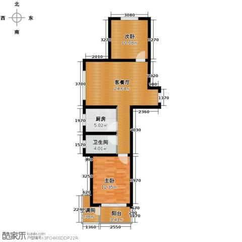 盛景八方2室2厅1卫0厨89.00㎡户型图