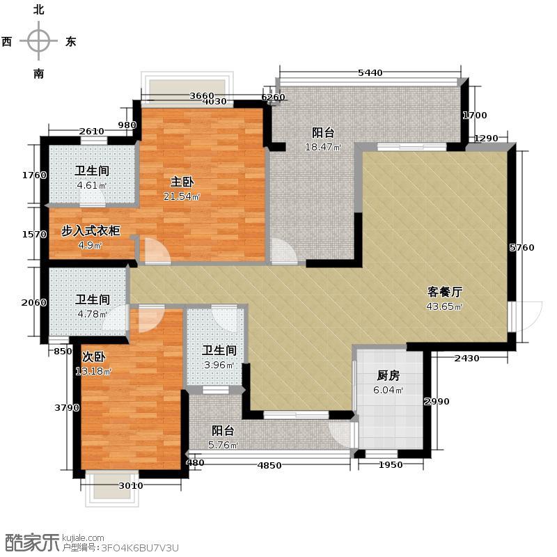 海琴水岸126.00㎡漾日湾15栋01单位户型2室2厅3卫