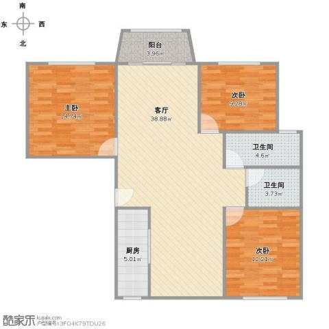 明丰花园3室1厅2卫1厨124.00㎡户型图