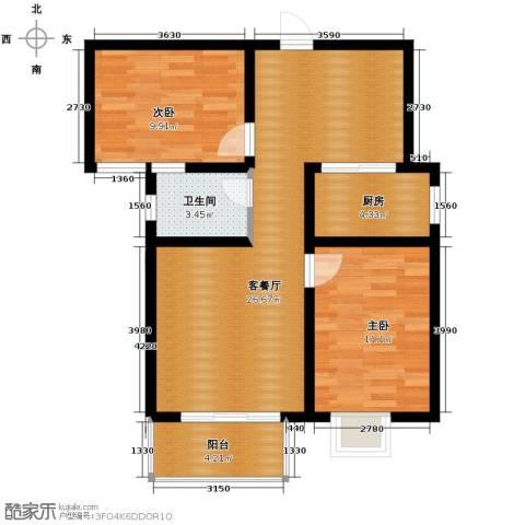 盛景八方2室2厅1卫0厨86.00㎡户型图