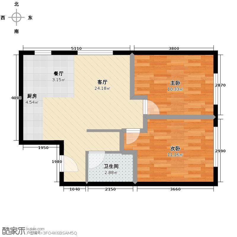 朗诗绿色街区61.00㎡11栋Ⅱ户型2室1厅1卫