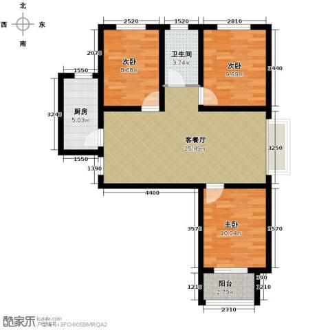 学府名城3室2厅1卫0厨109.00㎡户型图