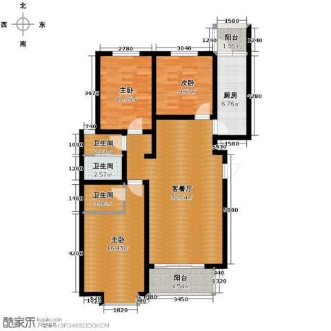 盛景八方3室2厅2卫0厨130.00㎡户型图