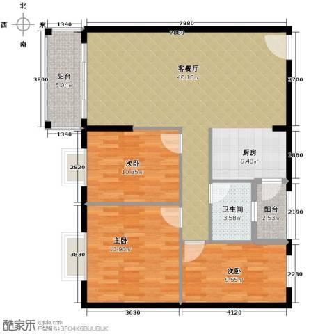 东汇家园3室1厅1卫0厨91.00㎡户型图