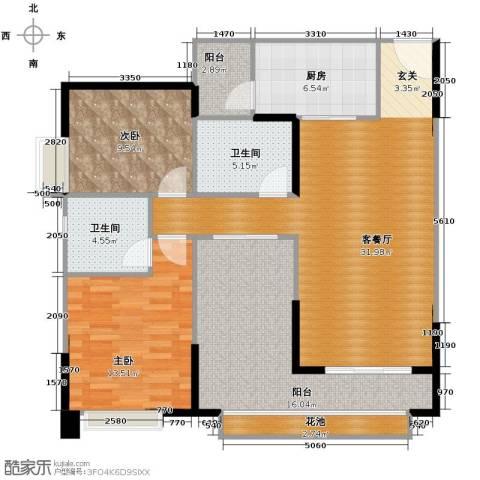 保利中环广场3室2厅2卫0厨118.00㎡户型图