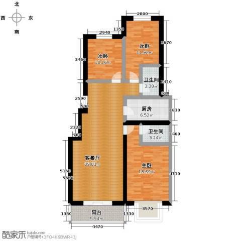 富沁园3室1厅2卫1厨138.00㎡户型图
