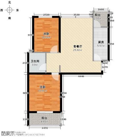 中城花溪畔2室1厅1卫1厨95.00㎡户型图