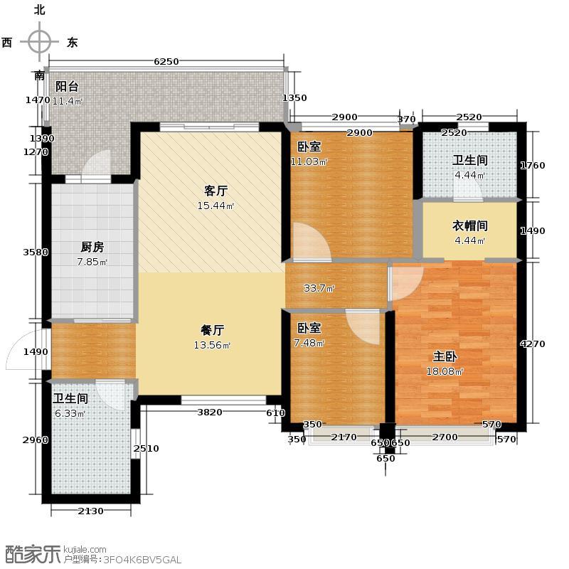 恒大御景半岛131.91㎡5号楼2单元三室户型3室2厅2卫