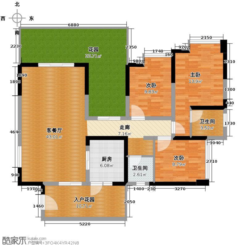 蓝谷地二期132.00㎡3d-b偶数层户型3室1厅2卫1厨