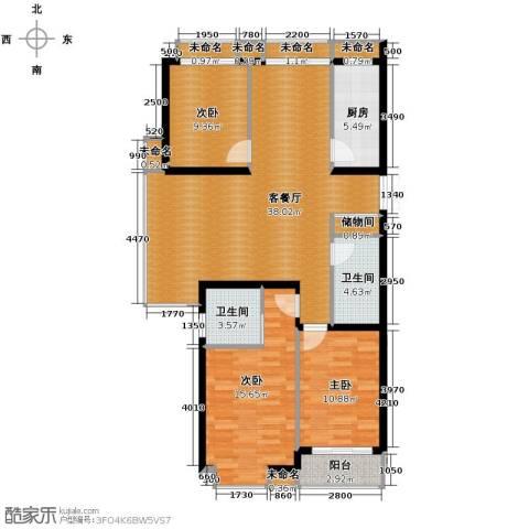 乐城半岛3室1厅2卫1厨127.00㎡户型图