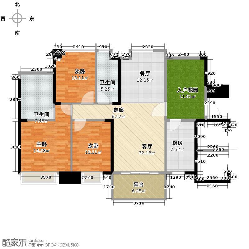 沿海馨庭123.00㎡14座02单元户型3室2厅2卫