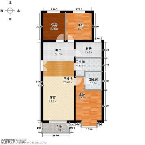 建投十号院3室2厅2卫0厨123.00㎡户型图