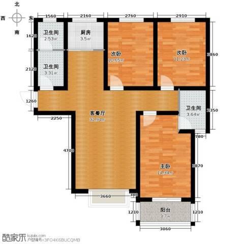 天洲沁园3室2厅2卫0厨128.00㎡户型图