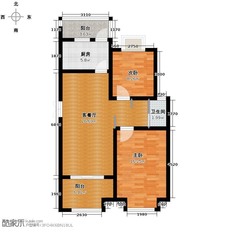 中电颐和家园95.00㎡四期D户型2室2厅1卫