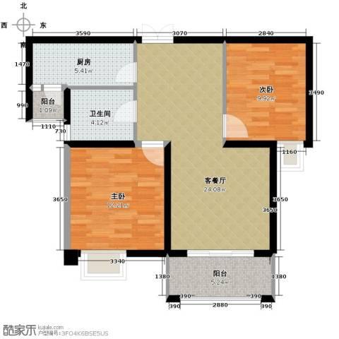 凤凰和美2室1厅1卫1厨89.00㎡户型图