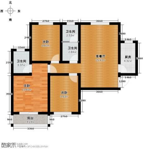 天洲沁园3室2厅2卫0厨116.00㎡户型图