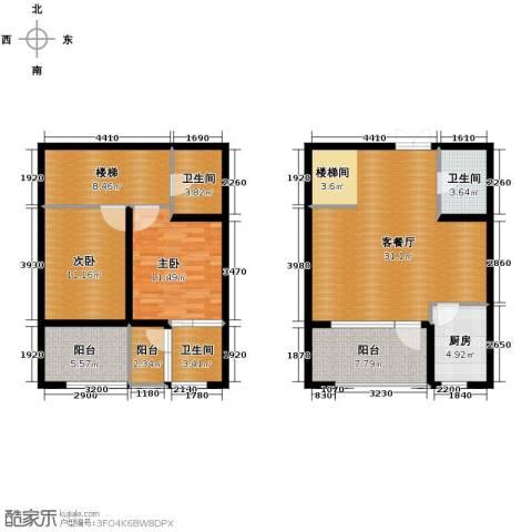 领世郡2室2厅2卫0厨118.00㎡户型图