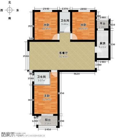 学府名城3室2厅2卫0厨122.00㎡户型图