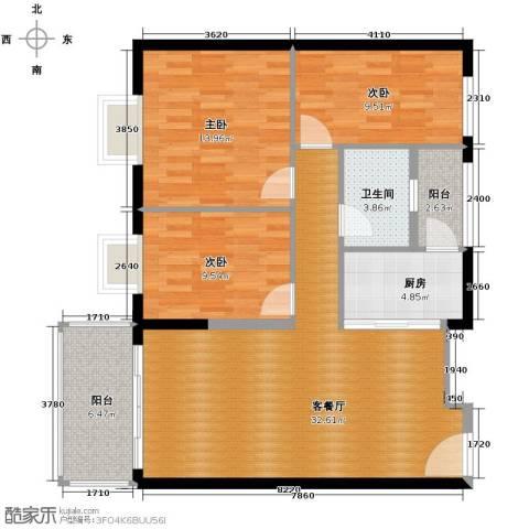 东汇家园3室1厅1卫1厨88.00㎡户型图