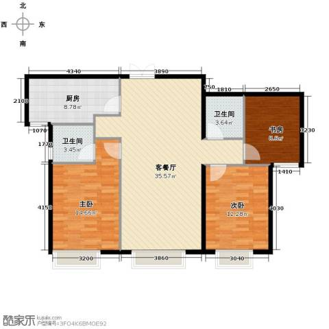 西美五洲天地3室2厅2卫0厨125.00㎡户型图
