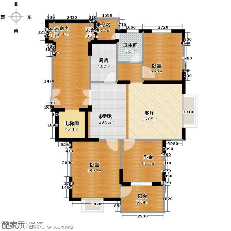 鸿雁名居95.56㎡8号楼东西两端1-10层户型1卫1厨