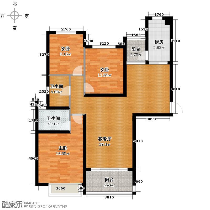 恒大御景半岛142.62㎡4/6/7号楼1单元三室户型3室2厅2卫