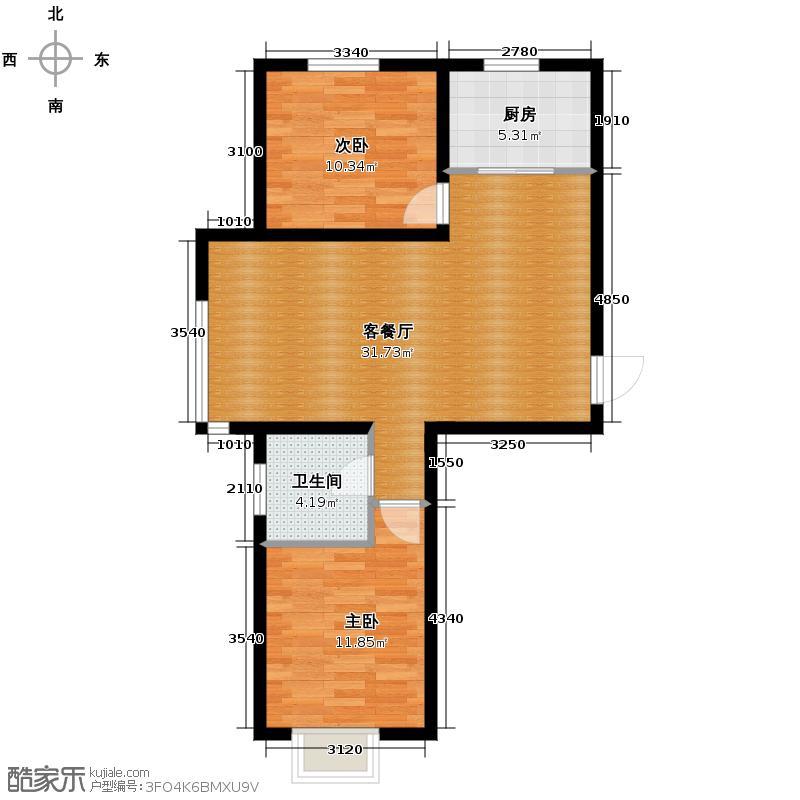 金日丽景二期95.50㎡户型2室2厅1卫