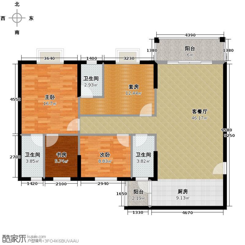 东汇家园116.00㎡户型3室1厅3卫
