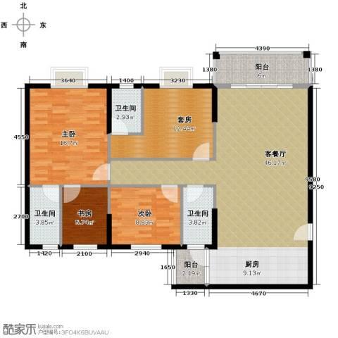 东汇家园3室1厅3卫0厨116.00㎡户型图
