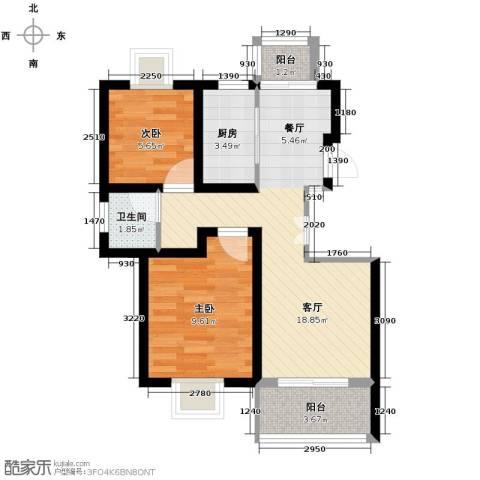 旭日雅筑2室1厅1卫1厨89.00㎡户型图