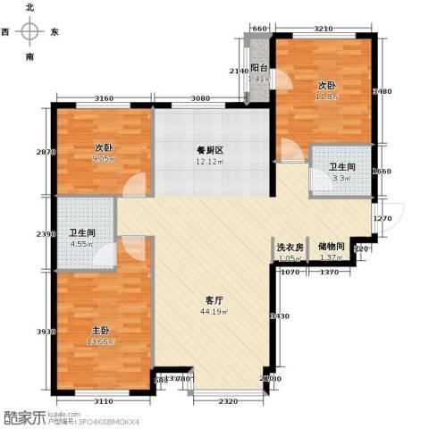 西美五洲天地3室2厅2卫0厨122.00㎡户型图