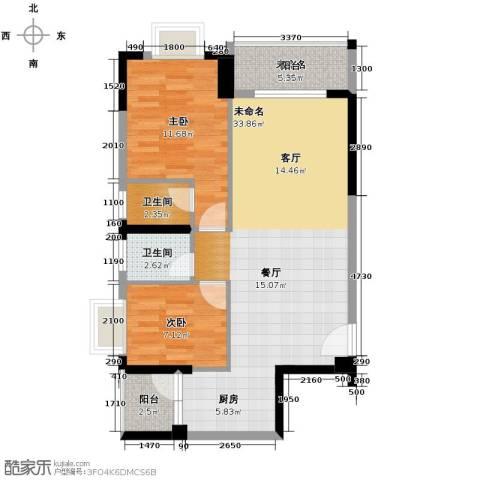 星晖园2室0厅2卫0厨92.00㎡户型图