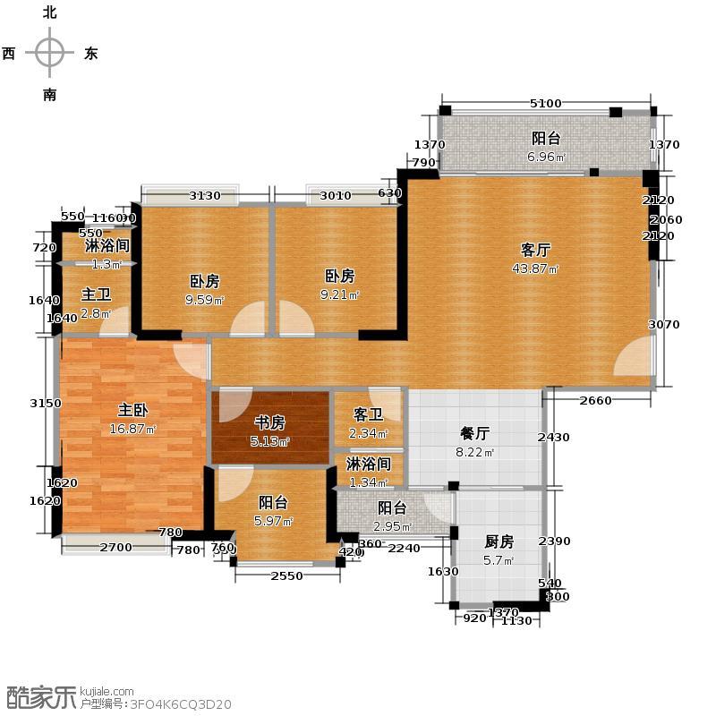 保利中央公馆142.00㎡1栋2梯/2栋01户型4室2厅2卫