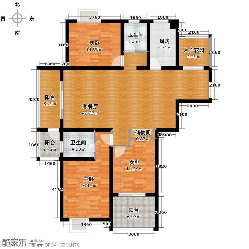 江雁mini格调134.67㎡二期14、15号楼标准层D1户型10室