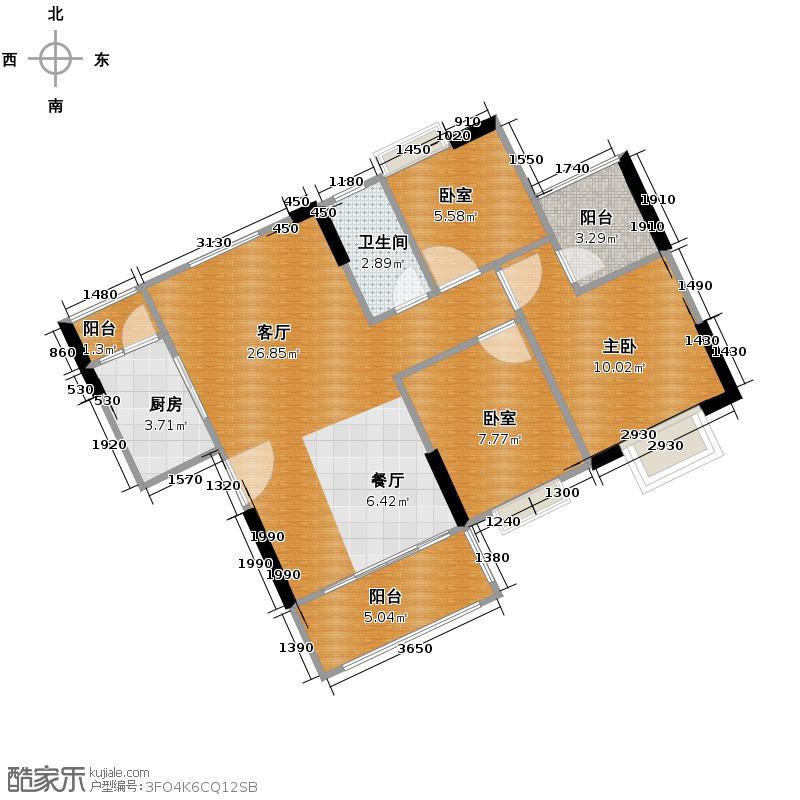 上林一品91.00㎡2栋3座2-18层03单位户型3室2厅1卫
